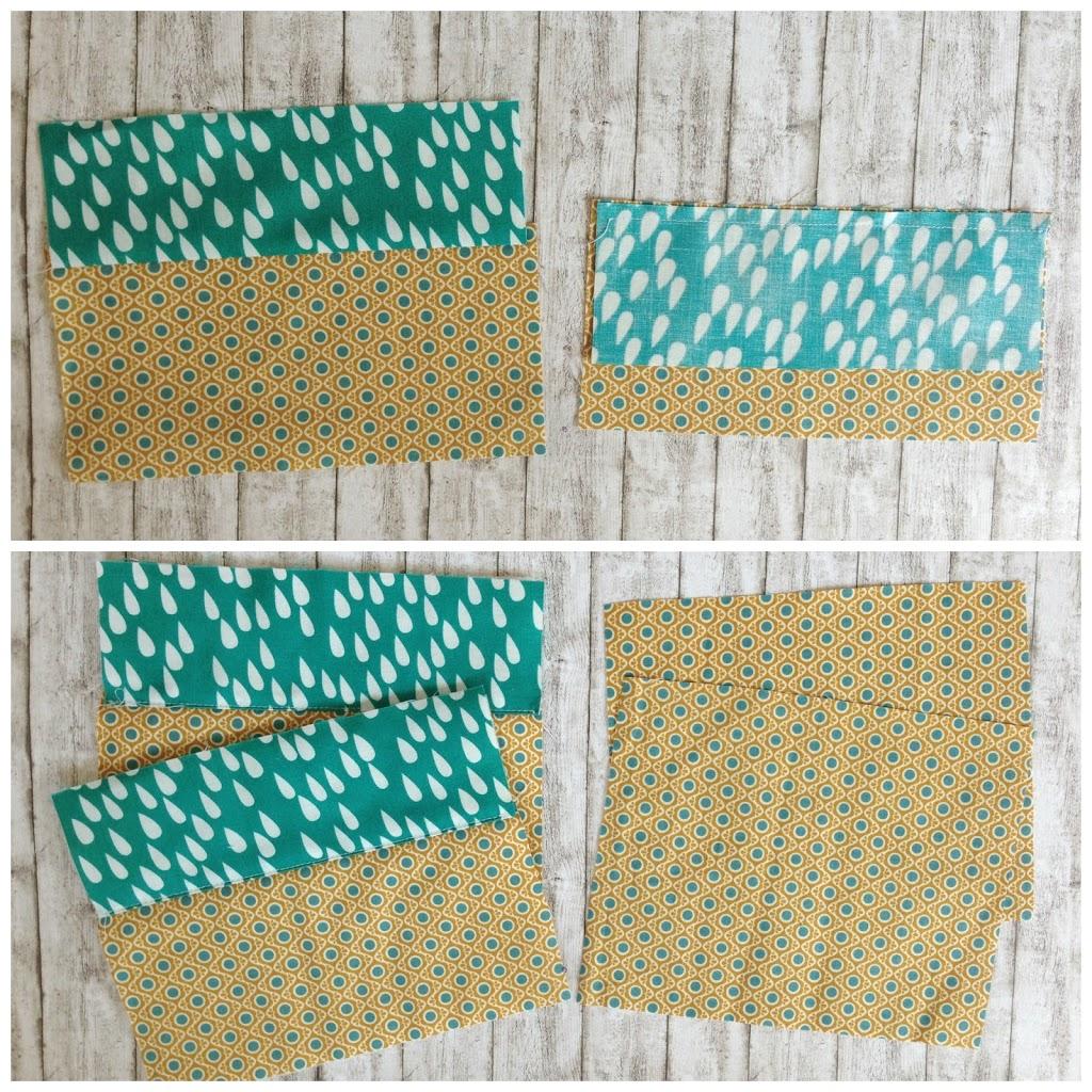4ca85150fada2 Die 8x4cm Stoffstücke werden jeweils links auf links geklappt und einmal  gebügelt. Auf dem Bild seht ihr links ein eingeklapptes Stück