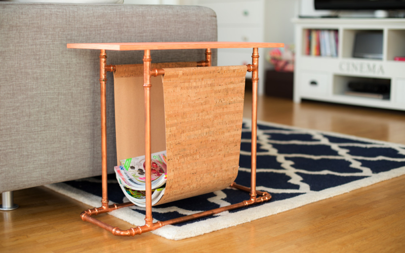 Zeitschriften-Beistelltisch aus Kupferrohren selber bauen